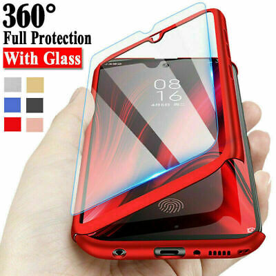 AU5.01 • Buy For Samsung S21 A12 A42 A51 A72 S20FE A32 A41 360°Full Cover Case+Tempered Glass