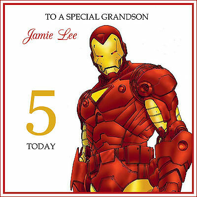 IRON MAN HANDMADE PERSONALISED Birthday Card Son Grandson Any Text • 4.25£