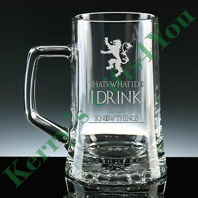 £14.25 • Buy Engraved Glass Tankard For Game Of Thrones I Drink And I Know Things Tyrion