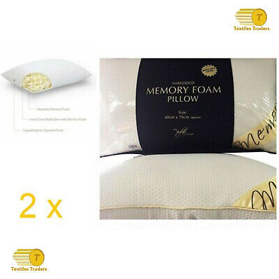2 X Luxury Shredded Memory Foam Pillow Firm Head Neck Support Orthopaedic Pillow • 19.95£