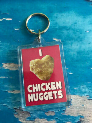 £2.49 • Buy I Love Chicken Nuggets Keyring - Chicken Nugget Lovers - Fun Gift - Red