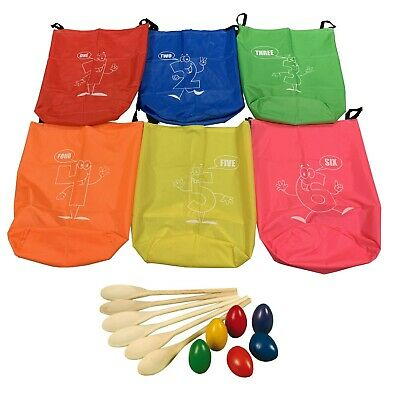 ND Kids Sack Racing Jumping Bags Sports Day Outdoor School + Egg And Spoon Race • 34.99£