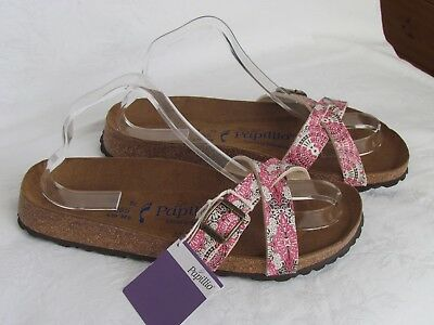 NEW Papillio By Birkenstock Ladies Pink SOFT FOOTBED Mules Sandals Sze 7.5 EU 41 • 62.99£