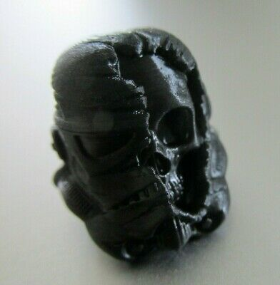 BLACK DeathTrooper Skull Bead *Survival EDC Prepper Gift* Keyring Paracord Resin • 5.95£