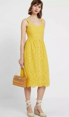 £13.99 • Buy New Look Womens Yellow Broderie Button Front Midi Cotton Summer Dress Sizes 6-18