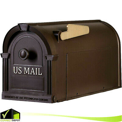 $23.99 • Buy POST MOUNT MAILBOX Durable Plastic Postal Large Mail Box Storage Gold Lettering