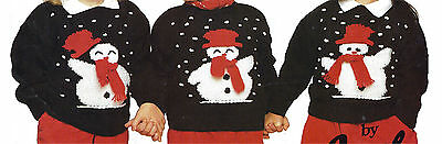 £1.99 • Buy Childrens 3 Snowman Christmas Sweater Knitting Pattern  18/26 Inch  (153)