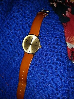 Cesare Watch In Gold With Cognac Face & Cream Leather Strap EUC!!!!! • 49.53£