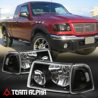 $72.98 • Buy Fits 2001-2011 Ford Ranger [Black/Clear] Crystal Corner Headlight Headlamp Lamp