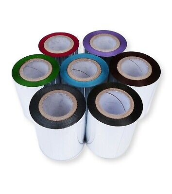 £18.99 • Buy Coloured 60mm X 100m Thermal Transfer Ribbon Wax Resin Green Blue Purple Copper