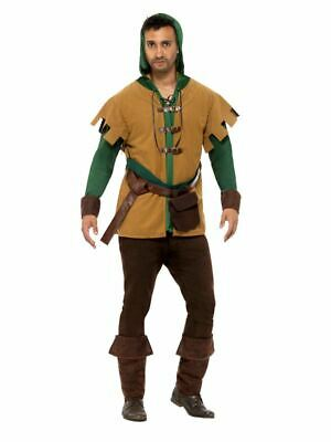 Mens Robin Of The Hood Costume Medieval Hero Fancy Dress Outfit Adults • 29.99£