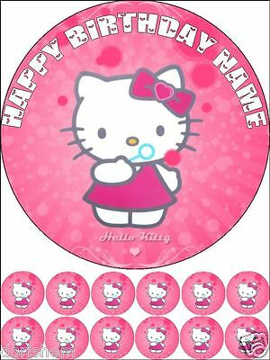 £3.99 • Buy Edible Round 7,5  Hello Kitty  Birthday Cake Topper And 12 Cupcakes Toppers