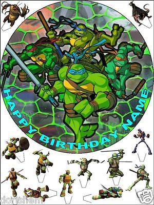 £3.99 • Buy Edible Round 7,5  Turtles Ninja Birthday Cake Topper And 12 Standing Toppers