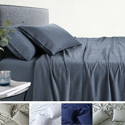 AU49 • Buy 100% Premium Cotton Flannelette Sheet Sets Bed Fitted Sheets Pillow Cases 170GSM