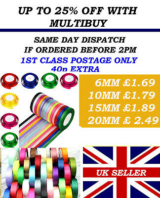£1.59 • Buy FULL 23 MTR ROLL OF SATIN RIBBON 6,10,15,20mm ALSO DOUBLE SIDED SATIN BUNDLE'S