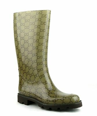 Gucci Women's Light Brown Rubber Rain Boots With Guccissima Pattern 248516 8367 • 276.34£