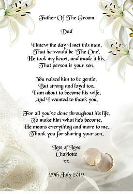 Wedding Day Thank You Gift, Father Of The Groom From Bride Poem A5 Photo • 2.49£