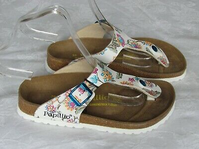 NEW Papillio By Birkenstock Ladies White Floral Mules Sandals UK Size 3.5 EU 36 • 62.99£