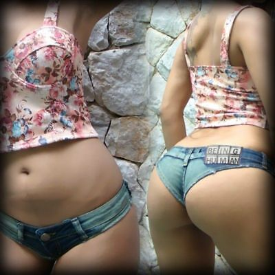 Lady Sexy Denim Jeans Micro Mini Tight Shorts Low Waist Dance Club Hot Pants New • 17.44£
