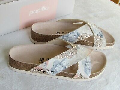 NEW Papillio By Birkenstock Daytona Ladies Blue Pink Mules Sandals Size 5 EU 38 • 69.99£