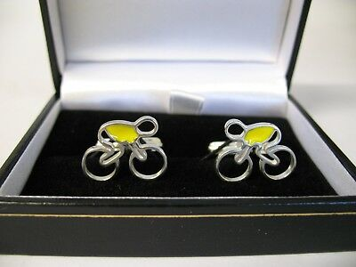£89.99 • Buy Solid Silver And Enamel Cufflinks - Cycle / Bike Design 'tour' Yellow Jersey
