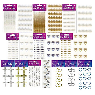 Self Adhesive Diamante Crystals Hearts Pearls Gems Strips Craft Sheet Designs • 2.29£