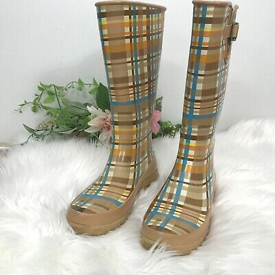 be85887ab19 Womens Sperry Top-Sider Tall Rain Boots Sz 9 Plaid Waterproof Wellies •  33.99