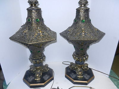 $700 • Buy Vintage Pierced Brass Tone Moroccan/Gothic Table Lamps