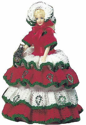 Miss Christmas Toilet Roll Cover Doll Knitting Pattern     (811) • 1.89£