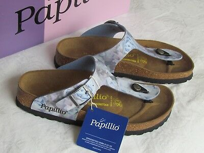 NEW Papillio Gizeh Ladies Silky Rose Blue Toe Post Mules Sandals Size 2.5 EU 35 • 59.99£