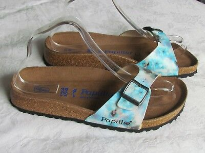 NEW Papillio By Birkenstock Ladies Pixel Blue SOFT FOOTBED Sandals Size 5.5 39 • 49.99£
