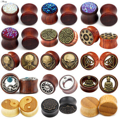$2.19 • Buy PAIR Natural Wood Ear Gauges Flesh Tunnels Double Flared Saddle Ear Plugs 8-30mm