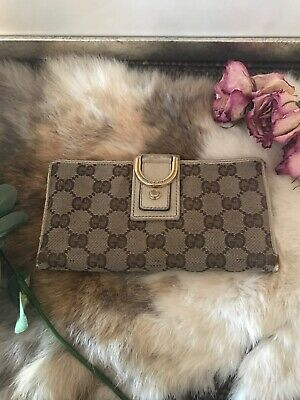 $85 • Buy Auth GUCCI GG Pattern Long Bifold Wallet Purse Canvas Leather Brown Vintage CHIC