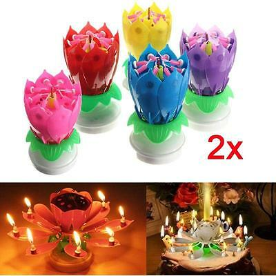$ CDN1.87 • Buy 4 Colors Romantic Musical Candle Lotus Flower Party Gift Art Happy Birthday