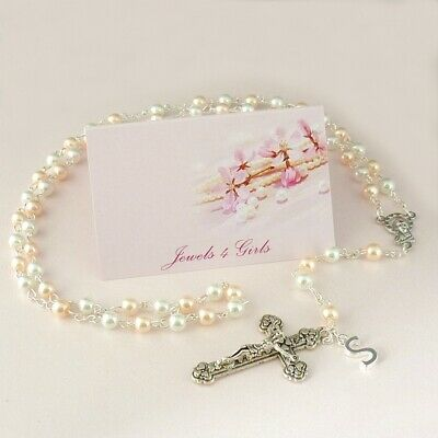 Personalised Gift For First Holy Communion, Rosary Beads For Girls, Daughter Etc • 7.99£