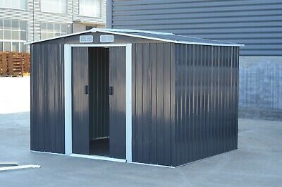 Metal Garden Shed Outdoor Storage House10x8  Tool Sheds With Free Base  • 299.99£