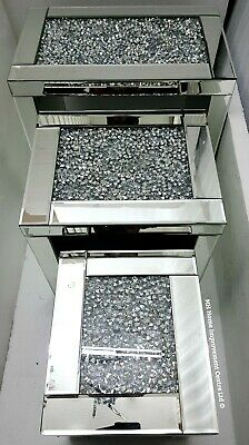 Sparkly Diamond Crush Crystal Silver Mirrored Glass Nest Of 3 Tables Rectangular • 329£