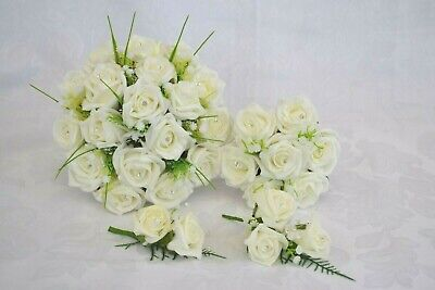 £6.95 • Buy Wedding Bouquet Posy Flowers With Babies Breath & Gyp. Corsage, Buttonholes