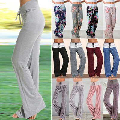 c7fb4f191a21c Womens Wide Leg Yoga Pants Athletic Foldover Stretch Casual Flare Soft  Leggings • 11.95$