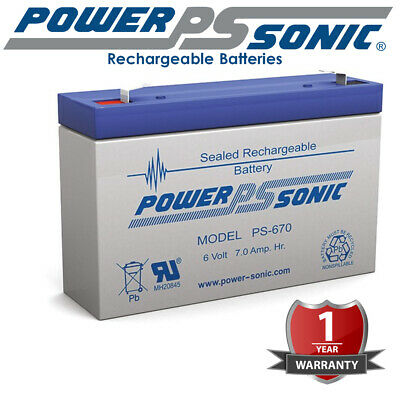 AU33.90 • Buy Powersonic Battery 7AH 7 AMP Hour AGM SLA 6 Volt 6V Sealed Rechargeable