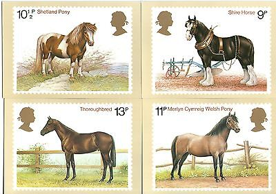Post Office Picture Card Series Horses : Welsh Pony Shire Shetland Thoroughbred • 2£
