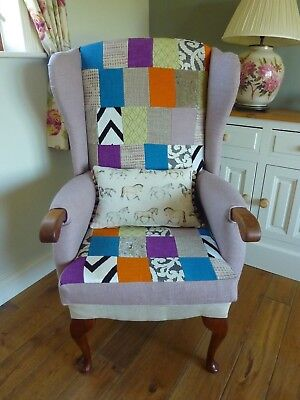 £185 • Buy Reupholstered Patchwork Wingback Chair Fireside Armchair