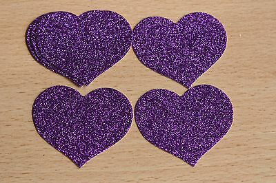 £3.95 • Buy 15 Large Die Cut Cadbury Purple Glitter Hearts, Wedding, Cards, Crafts, Toppers