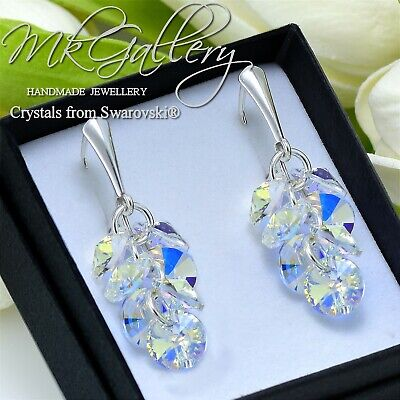 £20.99 • Buy 925 Silver Earrings With Crystals From Swarovski® 8mm Xilion Rivoli Crystal Ab