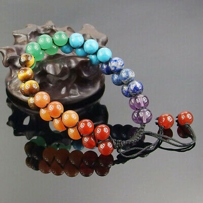 AU6.17 • Buy Adjustable Braided 7 Chakra Crystal Healing Bracelet Natural Gemstone Beads