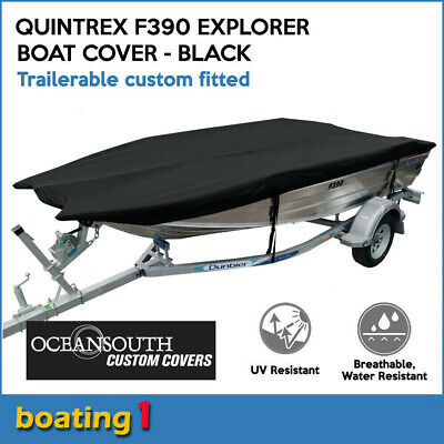 AU193.24 • Buy Oceansouth Custom Fit Trailerable Boat Cover For Quintrex F390 Explorer - Black