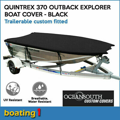 AU159 • Buy Custom Fitted Trailerable Boat Cover For Quintrex 370 Outback Explorer - Black