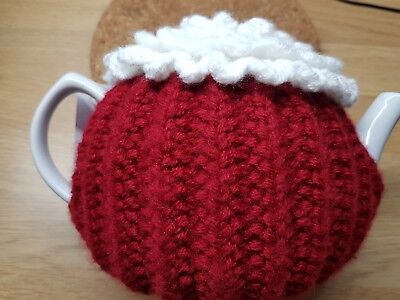 £9.99 • Buy Handmade Knitted & Crochet Tea Cosy Red With White Flower 34 Cm By 11 Cm