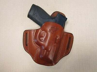 $49.65 • Buy S&W M&P Shield 3.3 45 Cal. BROWN Leather Owb Pancake Belt Holster Right Hand