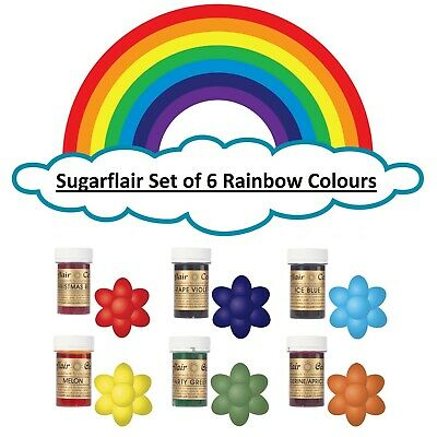 Sugarflair Paste Rainbow Cake Colours Edible Gel Icing Food Colouring Set 6x 25g • 12.83£